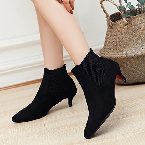 Toe Boots Elastic Bootie Kitten AIYOUMEI Winter Autumn Women's Ankle Band Black Heels Pointed xpwHEfHP