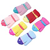 3Pairs Cute Cartoon Fish Style Toddler Kids Girl Warm Winter Mittens Gloves
