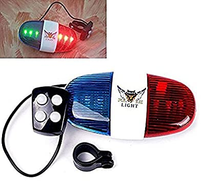 MOREBOX'S Bike Bicycle Police LED Light 6-LED Strobe Blue and Red Bicycle Safety Light + 4-Melody Loud Siren Sound Trumpet Cycling Horn Bells