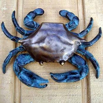 Blue Crab Door Knocker Solid Antiqued Brass Nautical Decor