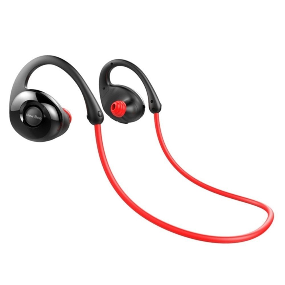 Gobuy Mart Running Headphones, Wireless Bluetooth V4.0 Earbuds Sweatproof Stereo Workout Sports Headphones with Mic for iPhone 7, Samsung Galaxy S8 and Other Smartphones - Red
