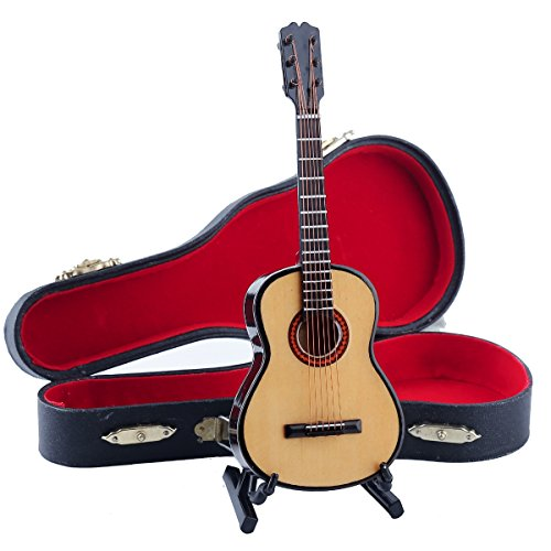 Seawoo Wooden Miniature Guitar with Stand and Case Mini Musical Instrument Miniature Dollhouse Model Home decoration (6.51''x2.28''x0.89'') by Seawoo