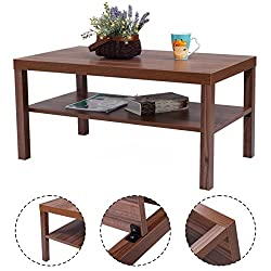 Best Modern Coffee Table Rectangular Low With Bottom Storage Shelf For Home And Living Room In Shades of Brown
