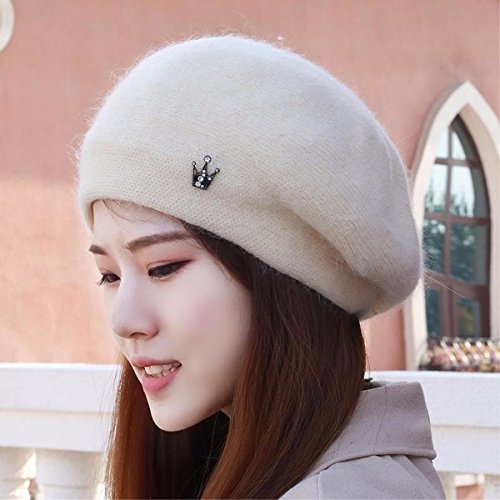 Women's Hat Ms Cap Beret Stitch Knit Hat Mother Cap sciarpa Headgear Helmet Riding Hat White