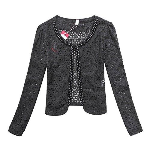 Modekini Women's Pearl Embellished Long Sleeves Floral Lace Jacket Black, US XL