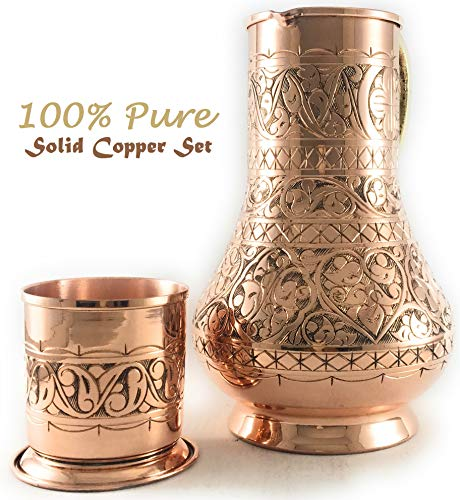 The Silk Road Trade - KS Series - NEW 2019-45oz Copper Pitcher and 7.7oz Cup Set with Lid, Moscow Mule Water Jug, Ice Tea and Juice Beverage, Desktop/Bedside Night Water Carafe Ayurvedic (Engraved) by The Silk Road Trade (Image #2)