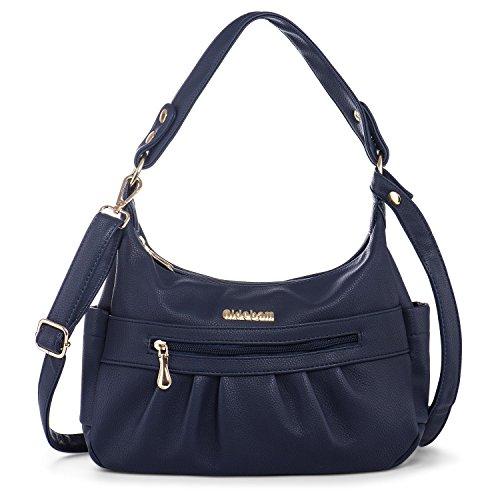 Katloo Women Shoulder Bag Vegan Leather Hobo Handbag Crossbody Purse Top Handle Bags Multi Zipper Pockets Blue Nail (Leather Side Pocket Hobo)