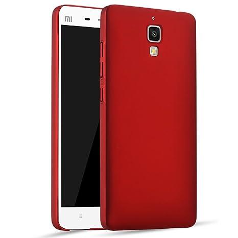 Apanphy Xiaomi 4 Carcasa, Alta calidad Ultra Slim Hard sedoso Scrub Shell plena protección trasera piel siento cover para Xiaomi 4 Rojo