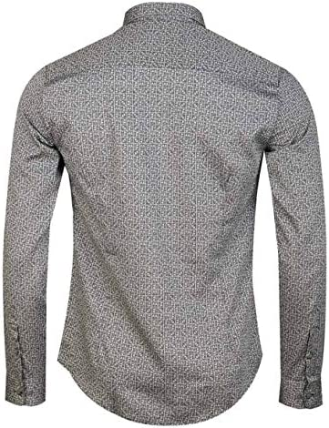 T-Shirt mens white jules long sleeve button placard crew neck top