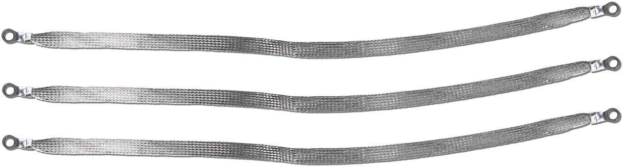 -3pcs 1//4 Ring to 1//4 Ring 24 x 1//2 Braided Ground Straps