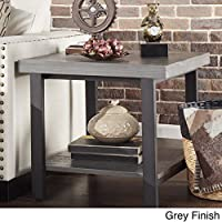 Cyra Industrial Reclaimed Accent End Table - Grey Finish