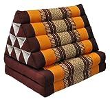 Thai triangular cushion with mattress 2 folds, brown/orange, relaxation, beach, pool, meditation garden (81102)