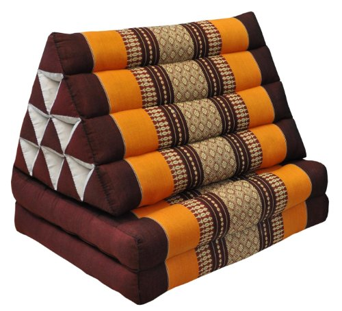 Thai triangular cushion with mattress 2 folds, brown/orange, relaxation, beach, pool, meditation garden (81102) by Wilai GmbH