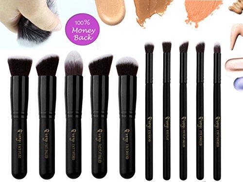 Qivange Makeup Brush Set, Kabuki Brush Foundation Contour Eyeshadow Makeup Brushes with Pouch, Black (10pcs)