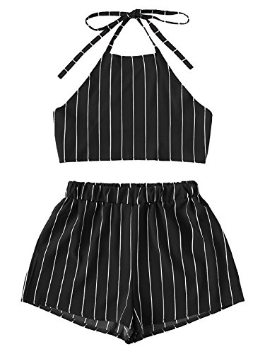 MAKEMECHIC Women's 2 Piece Outfit Summer Striped V Neck Crop Cami Top with Shorts Black-Stripe S