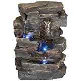 Alpine Corporation 4-Tier Cascading Tabletop Fountain with LED Lights - Indoor/Outdoor Water...