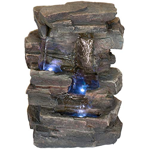 (Alpine Corporation 4-Tier Cascading Tabletop Fountain with LED Lights - Indoor/Outdoor Water Fountain Decor - Gray)