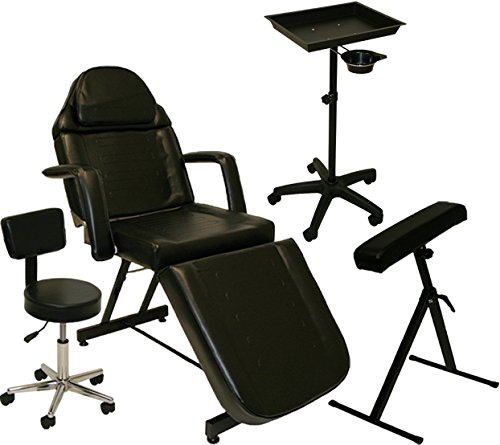 LCL Beauty Complete Tattoo Package: Tattoo Bed, Artist Chair, Portable Tray & Arm Bar (Compact) (Contemporary Arms Bar)