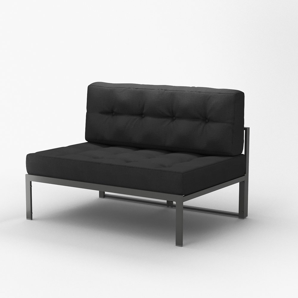 OSKAR Alu Lounge Gartenmöbel inkl. Palettenkissen Gartenlounge Sitzgarnitur Sitzgruppe Anthrazit (Gestell + Kissen Anthrazit)