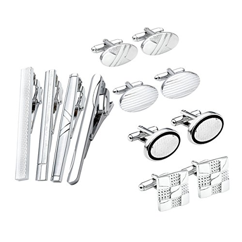 JOVIVI Stainless Classic Silver Cufflinks
