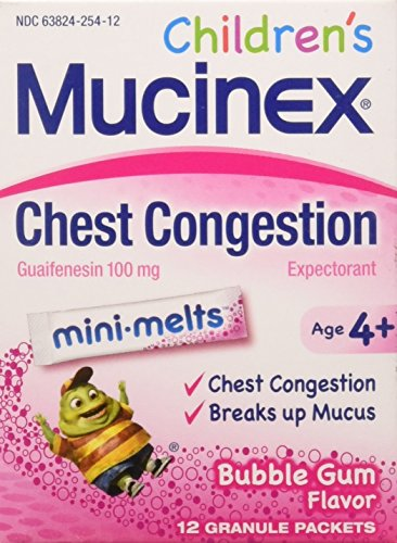 Chest Congestion, Mucinex Children's Mini Melts, Chest Congestion, Bubble Gum, 12ct