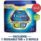 Enfamil Enspire Infant Formula - Our Closest to Breast Milk - 1 Reusable Tub  20.5oz &  2 Refills 41oz each (102.5 oz)