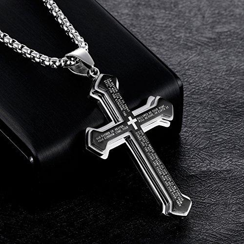 5e6b8a899b68 The Holy Buy Collar con colgante de cruz de acero inoxidable para hombre