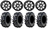Bundle - 9 Items: STI HD3 14'' Wheels Black 28'' Terminator Tires [4x156 Bolt Pattern 12mmx1.5 Lug Kit]