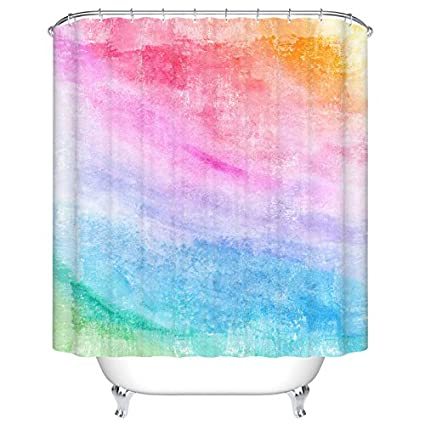 Colourful Rainbow Shower Curtain For Bathroom Set With Hooks Accessories Mildew Resistant Waterproof