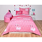 N-A 5 Piece Girls Hot Pink White Ballet Dancing Flamingoes Comforter Twin Set, Vibrant Multi Ballerina Dance ird Bedding, Cute All Over Shapes Star Heart Pattern, Microfiber