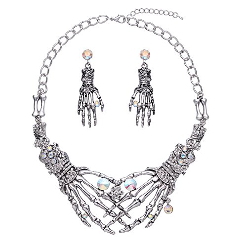 Zhenhui Steam Punk Vintage Austrian Crystal Ghost Claw Skeleton Skull Shaped Statement Necklace Drop Earrings Jewelry Set for Women Christmas Halloween Party (Holiday Themed Costumes)