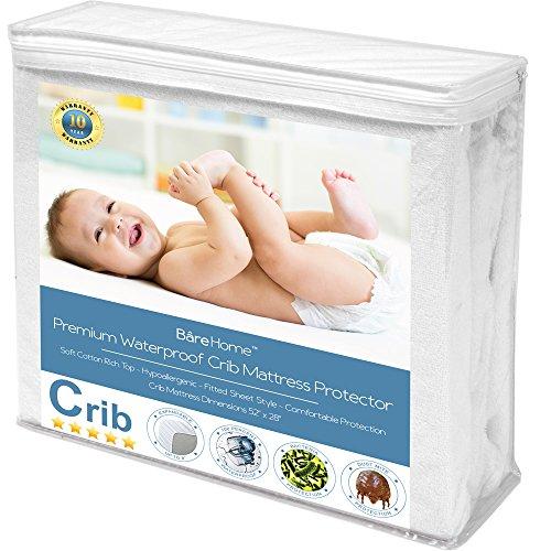Crib Size Premium Mattress Protector - 100% Waterproof - Vinyl Free Hypoallergenic - 10 Year Warranty - (Crib, (Plastic Cover For Crib Mattress)