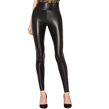 2c7538ab323b5 LAKOSMO Faux Leather Leggings for Women Petite, Black Leather Pants Women High  Waisted Size S