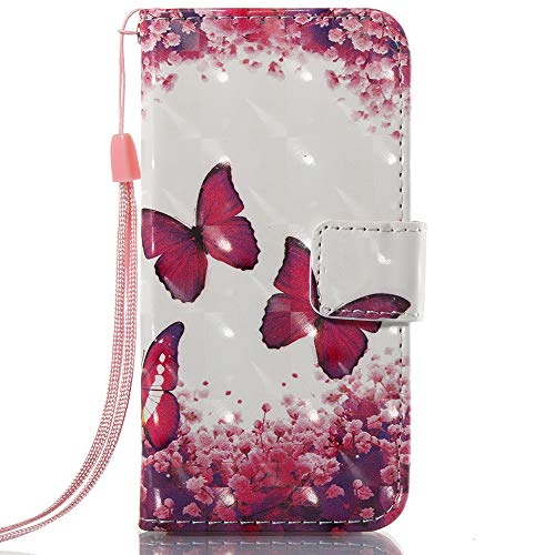 (iPhone SE Case,iPhone 5S Case,iPhone 5 Case,Voanice PU Leather Wallet Case Card Holder Slot Flip Folio Kickstand Cover Women Girl Full Protective Apple iPhone SE/5S/5&Stylus-Hot Pink Butterfly)