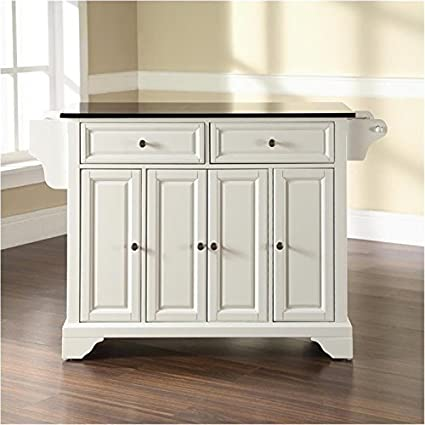 Bowery Hill Solid Black Granite Top Kitchen Island In White