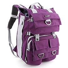 Canvas SLR/ DSLR Camera Backpack, Evecase Multi Purpose Outdoor Large Camera Bag w/Laptop Compartment & Rain Cover for Nikon, Canon, FujiFilm, Olympus, Samsung, Panasonic, Pentax, Ricoh, JVC and More Digtal SLR Camera (Purple)