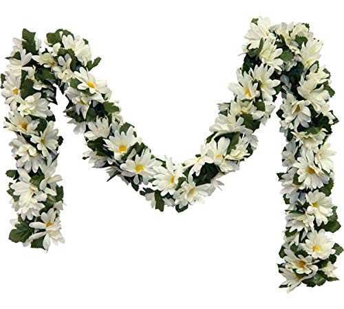 Boomer888 Vintage Bohemian Rustic Country Modern Trendy Cream Ivory Two Tones 90 to 100 Daisy 3 inch Garland Silk Flowers Wedding Arch Centerpieces Home Length 5 feet -