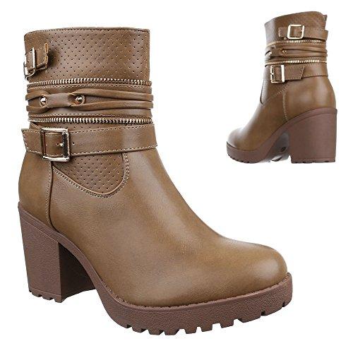 Ital-Design Damen Schuhe, B2886-KB, Stiefeletten Warm Gefütterte Boots Biker Boots Blockabsatz Hellbraun