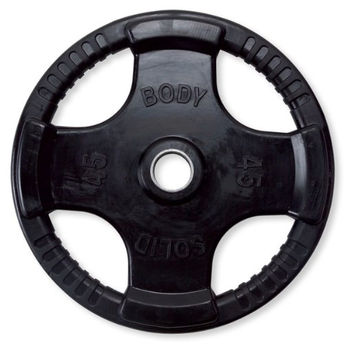 (Body-Solid Black Rubber Grip Olympic Plates - 45 lb)