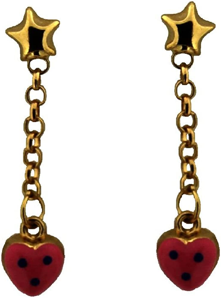 18K Yellow Gold Pink Enamel Polka Dot Heart Dangle Earring