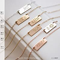 Personalized Engraved Horizontal Bar Necklace 16X6 Millimeter