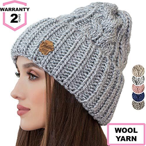 d2cb233d70c Braxton Knit Hat for Women - Ski Cable Winter Cuff Warm Toboggan Beanie - Wool  Snow
