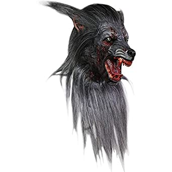 mens wolf werewolf mask halloween costume with fur and teeth - Halloween Costumes Wolf