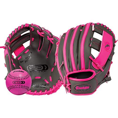 Franklin Sports  RTP Teeball Performance Gloves & Ball Combo, Graphite/Pink, 9.5, Right Hand Throw