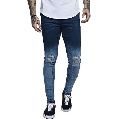 c4c38057731 Transer Men's Ripped Destroyed Frayed Slim Fit Jeans Distressed Holes Skinny  Tapered-Leg Denim Pants