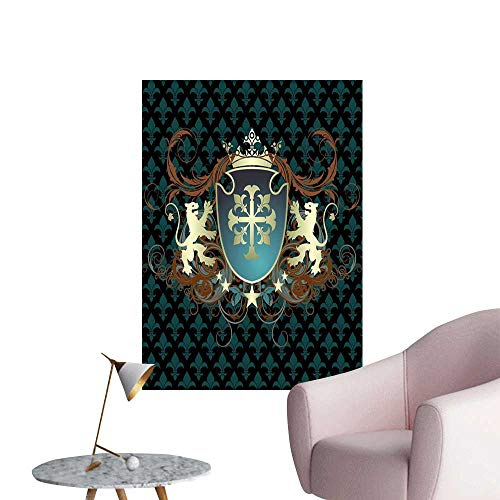 Medieval Wall Mural Wallpaper Stickers Heraldic Design from Middle Ages Coat of Arms Crown Lions and Swirls 3D Bathroom Decal Teal Black Cinnamon W24 x H36 ()
