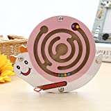 Mini Round Wooden Round Magnetic Maze Puzzle Interactive maze Magnet Beads Maze on Board Game Eduactional Handcraft Toys Pink Snail
