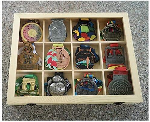 メダルディスプレイボックスメダルディスプレイケース、メダルと名誉のバッジのプレミアム木製ディスプレイケース、20グリッドガラス、ディスプレイオーガナイザーケース、ホルダーストレージボックス、軍事、戦争、スポーツメダル
