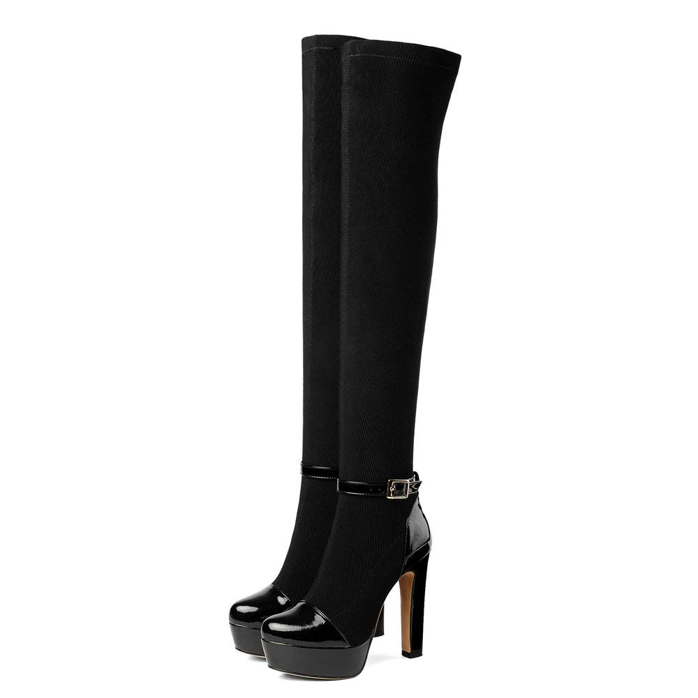 Black AnMengXinLing Fashion Over The Knee Boots Women Sexy Platform Stiletto High Heel Ankle Buckle Strap Stretch Pull On Thigh High Boot
