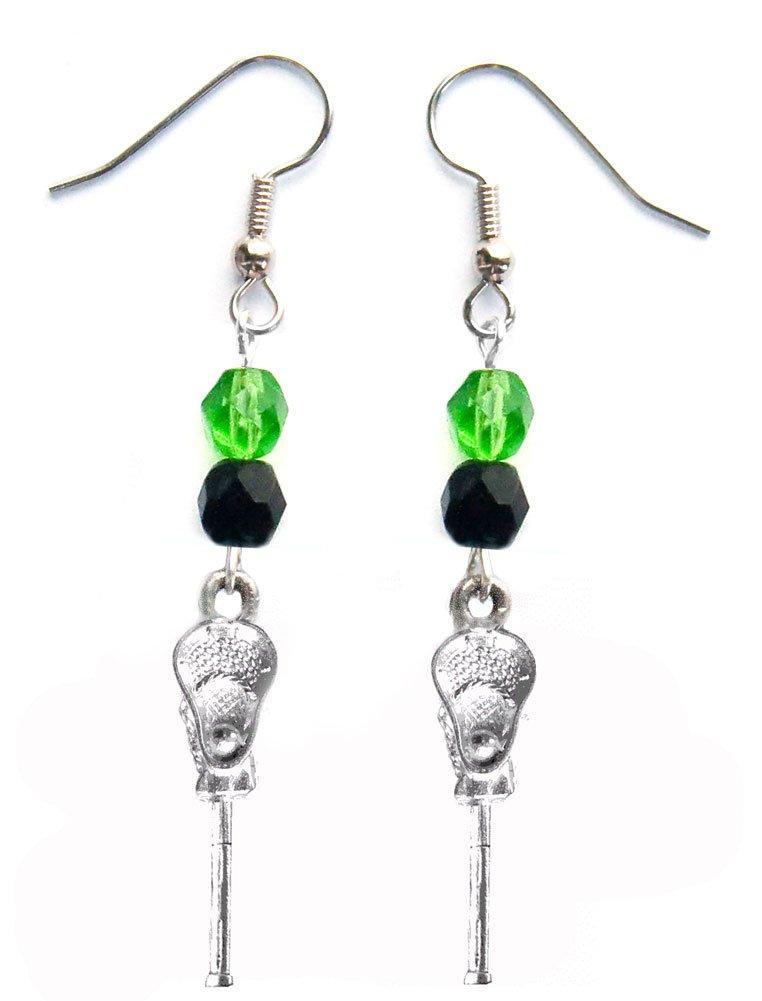 ''Lacrosse Stick & Ball'' Lacrosse Earrings (Team Colors Kelly Green & Black)